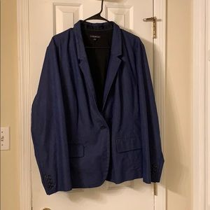Lane Bryant 24 Plus Denim Look Lined Blazer NWOT